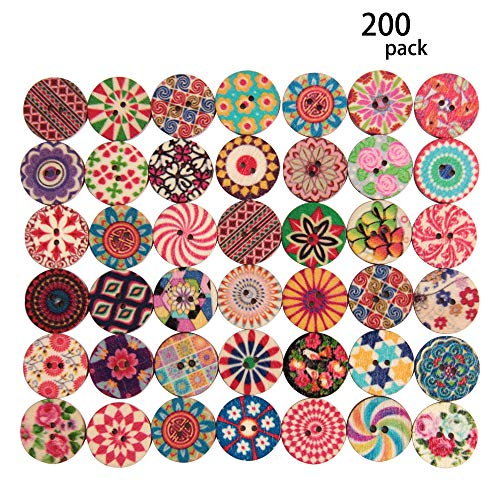 Happy Shop 200 Pcs Wooden Mixed Vintage Flower Painting Round Buttons 2 Holes Decorative Wood Buttons for Sewing Crafting DIY 20mm