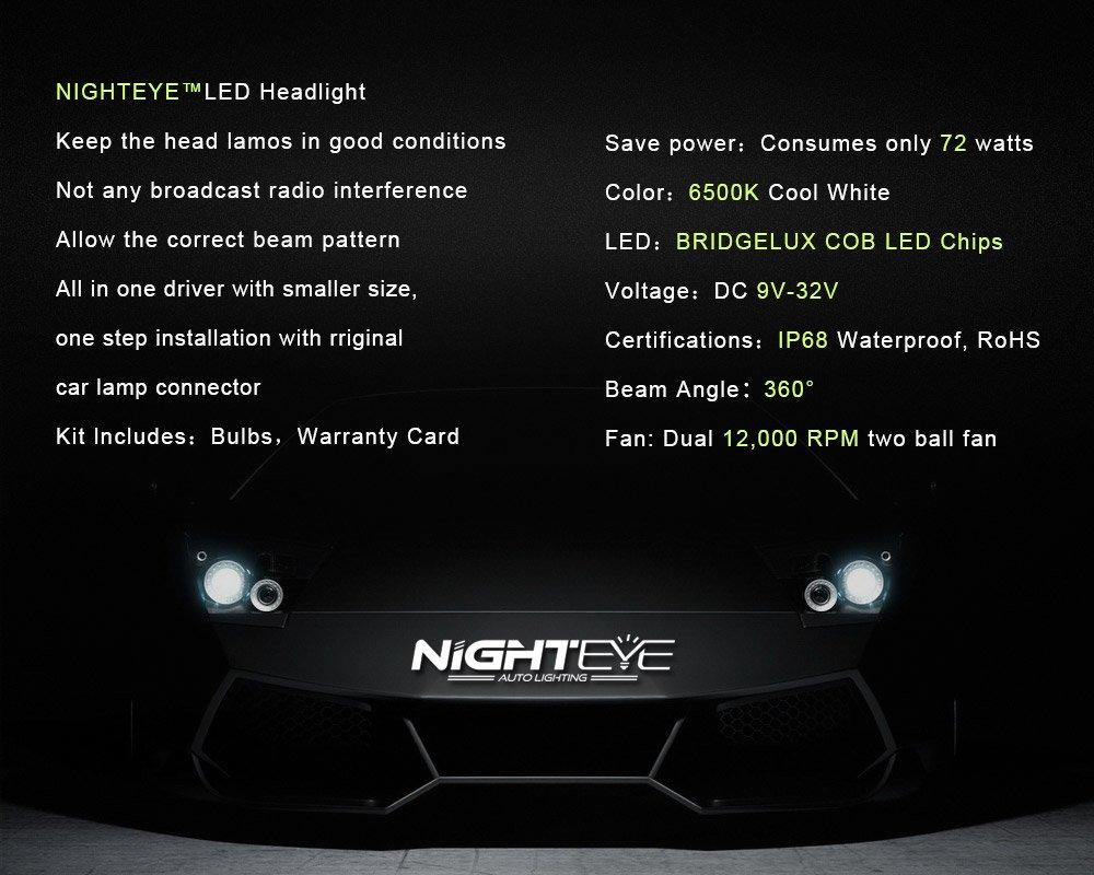 H1 72W 9000lm//Set 6500K Cool White NIGHTEYE Automotive ha condotto il faro Bulbi 3 Yr produzione di garanzia