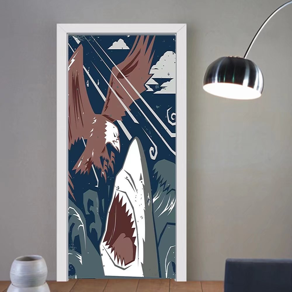 Gzhihine custom made 3d door stickers Sea Animal Decor Modern Murky Motley of the Battle of Shark vs. Eagle Attack Fight Power Brown Blue For Room Decor 30x79