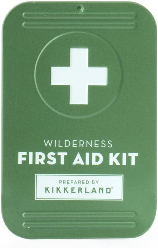 KIKKERLAND DESIGN Wilderness First Aid Kit, Includes: Variety Of Bandages, Antiseptic Wipes, Sting Relief, Sunscreen, Safety Pins, Antibiotic Ointment, Pocket Guide