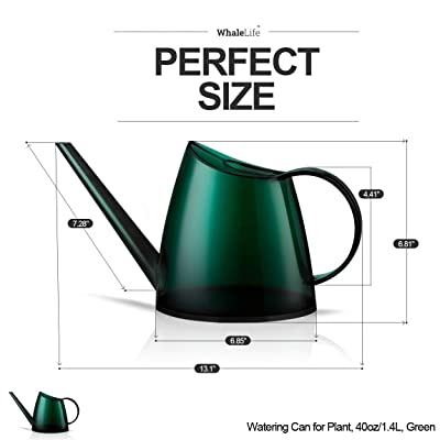 Fusolo Watering cans for Indoor Plants 1.4L 1//3 Gallon with Long Spout Translucent Small Watering Pot 1.4 L, Forsted Red