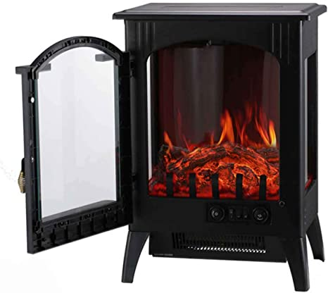 Ainfox Electric Fireplace Heater 1500w Free Standing Electric Wood Stove Fireplace Heater With Thermostat For Office And Home Home Kitchen