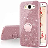 Cheap Galaxy On5 Case, Silverback Girls Bling Glitter Sparkle Case With 360 Rotating Ring Stand, Soft TPU Outer Cover + Hard PC Inner Shell for Samsung Galaxy On5 2015 G550 G5500 2015 Release -Rose Gold