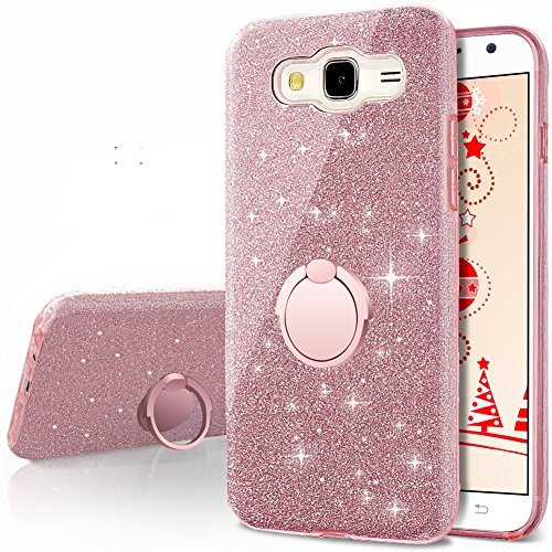 online retailer adaaf 507c3 Galaxy Grand Prime Case, Galaxy J2 Prime Case,Silverback Girls Bling  Glitter Case with 360 Rotating Ring Stand, Soft TPU Cover + Hard PC Shell  for ...