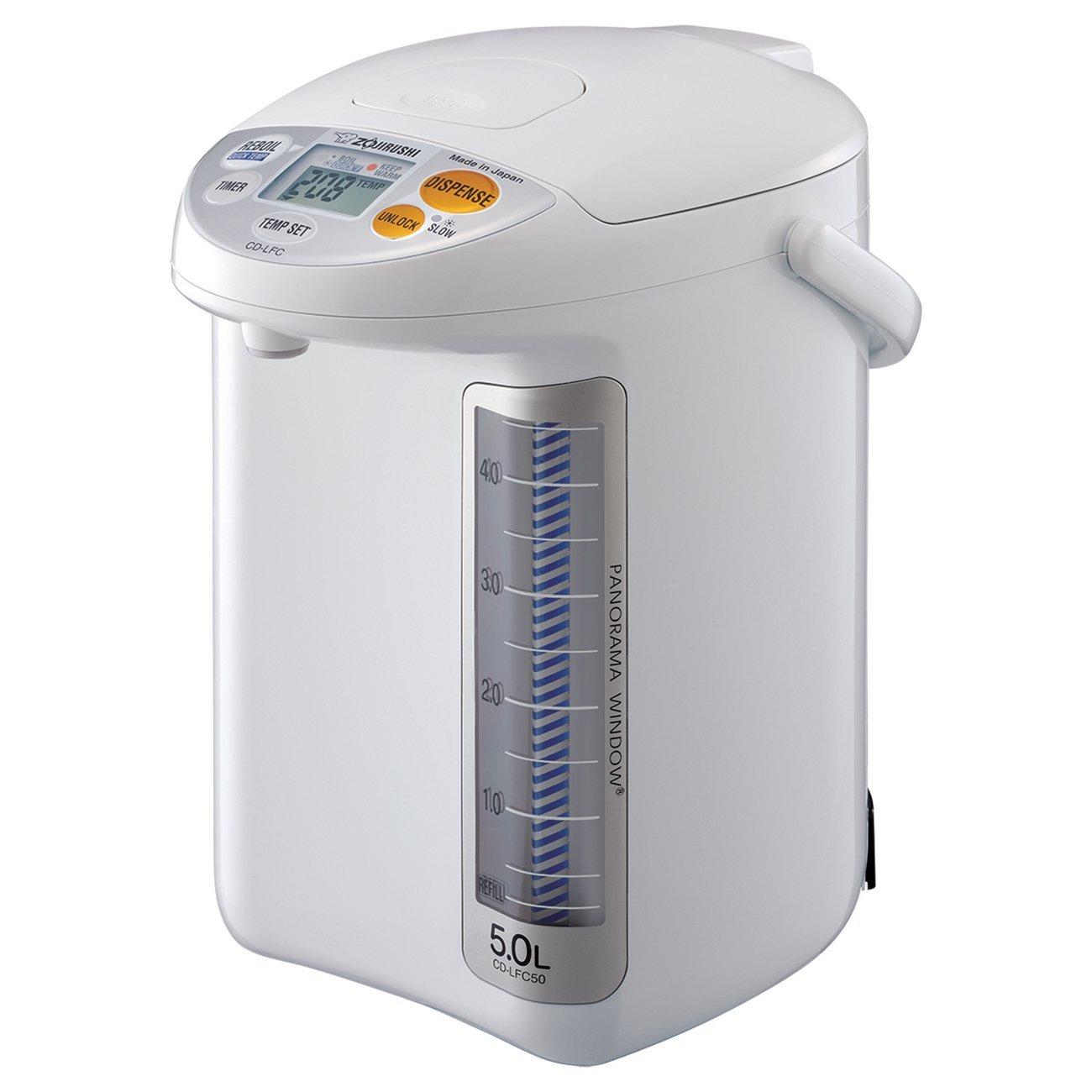 Zojirushi CD-LFC50 Panorama Window Micom Water Boiler and Warmer, 169 oz/5.0 L, White (Renewed)