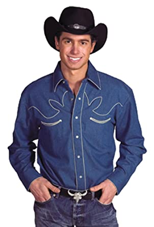 fee90a560b Mens 100% Cotton Retro Western Cowboy Shirt-Denim-Medium at Amazon ...