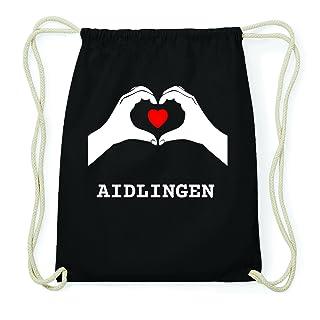 JOllify Aidlingen Hipster Sacca Borsa Zaino in cotone–colore: nero