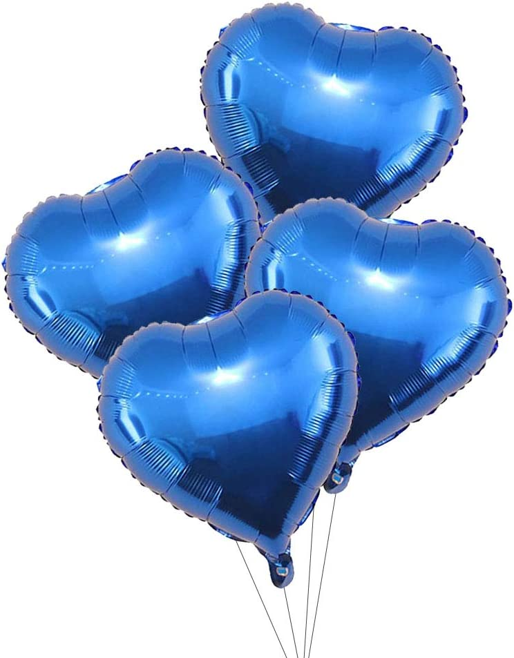 18inch Blue Heart Shaped Helium Balloons Mylar Balloons for Wedding Decoration Party Balloons Birthday AnnoDeel 20 pcs Blue Heart Foil Balloons