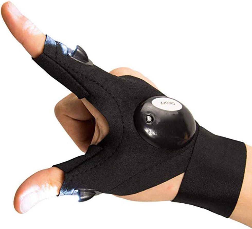 Uyuke Fingerless LED Lampe de Poche Gants de Cyclisme Torche Strap Glove pour la r/éparation de la p/êche Camping Randonn/ée