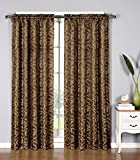 bedroom curtain ideas Window Elements Dawson Shimmering Leaf Extra Wide 54 x 84 in. Rod Pocket Curtain Panel, Chocolate