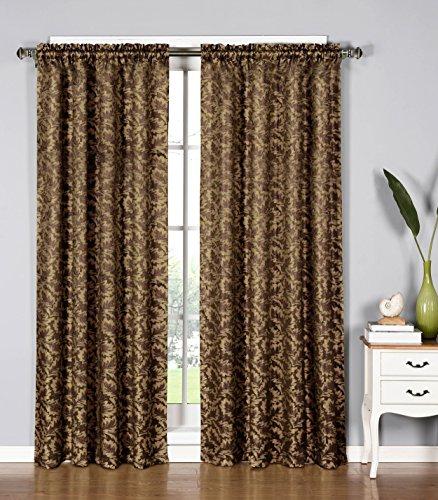 Window Elements Dawson Shimmering Leaf Extra Wide 54 x 84 in. Rod Pocket Curtain Panel, Chocolate