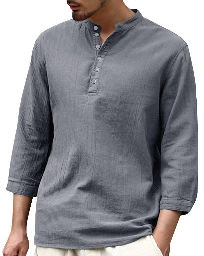 EastLife Mens Shirts Linen Hippie Summer 3/4 Sleeve V Neck Casual T-Shirt Beach Tops (XX-Large, 1 Grey)