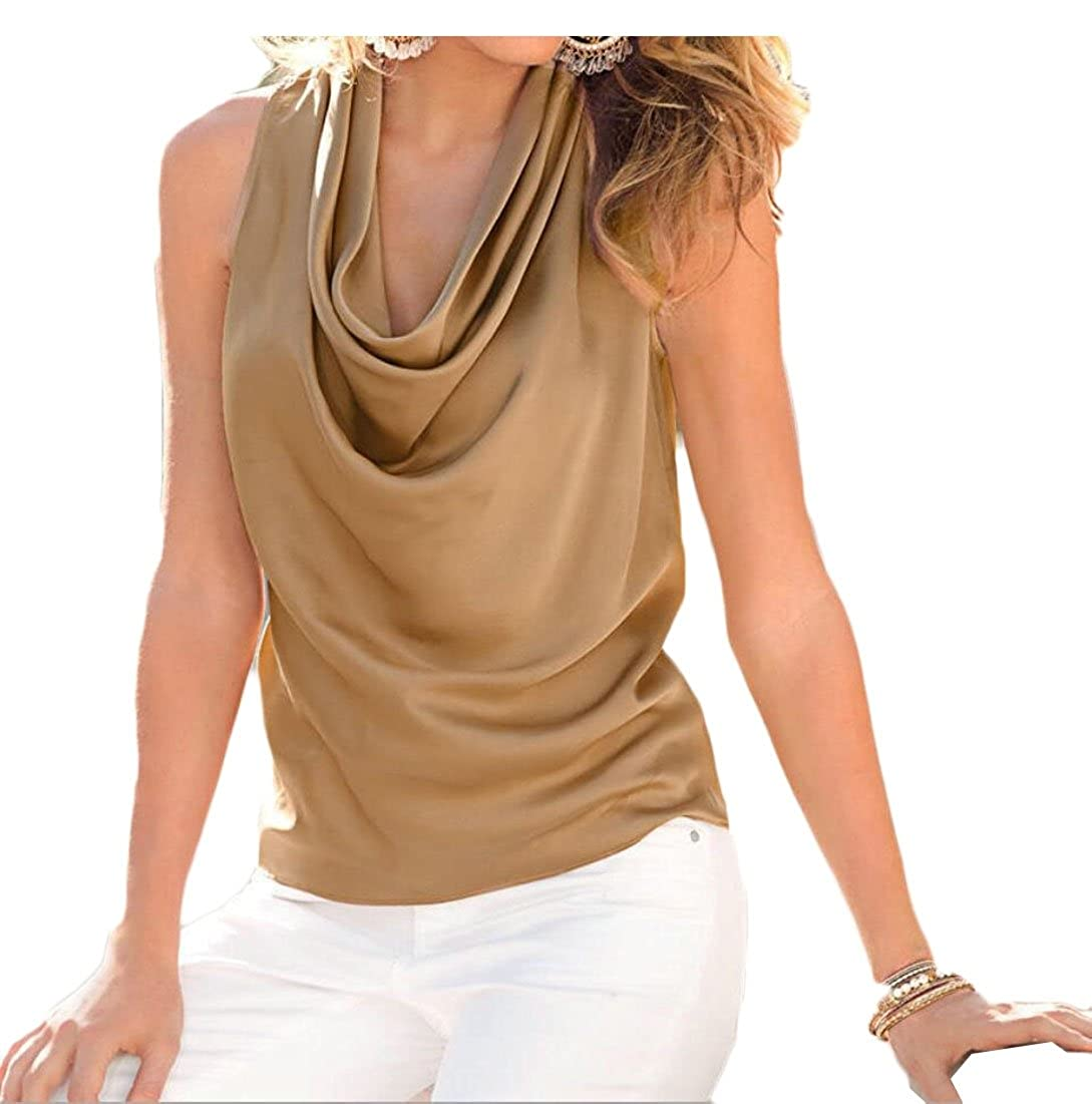 EKU FASHION EKU Womens Fashion Cowl Neck Sleeveless T Shirt Slim Chiffon Tank Tops