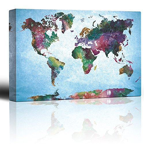wall26 Watercolor Fine Art World Map - Urban Vintage Painting - Canvas Art Home Decor - 24x36 inches