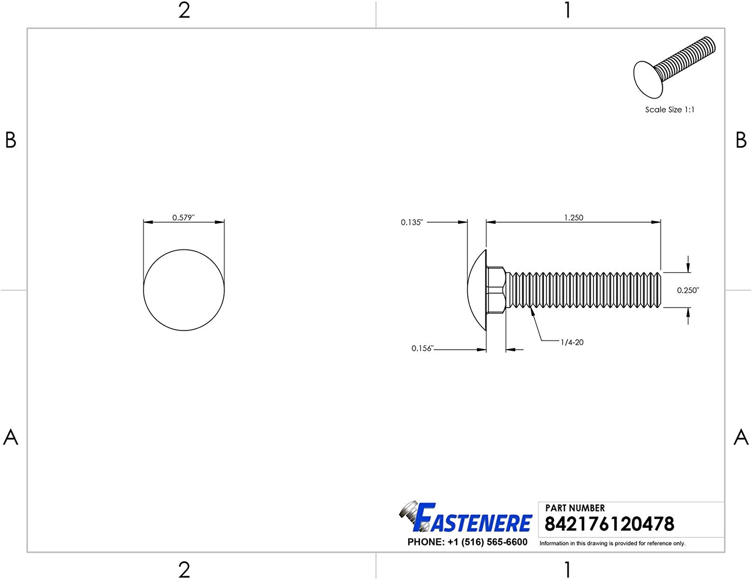 3//8-16 x 2-1//2 Stainless Steel Carriage Bolts Grade 18-8 Qty 250