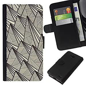 KLONGSHOP // Tirón de la caja Cartera de cuero con ranuras para tarjetas - Arte retro rústico Pirámide tinta de la pluma - LG OPTIMUS L90 //