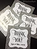 Wedding Thank You Favor Tags Silver Glitter Personalized Set of 25 - Bridal Baby Shower Birthday Graduation