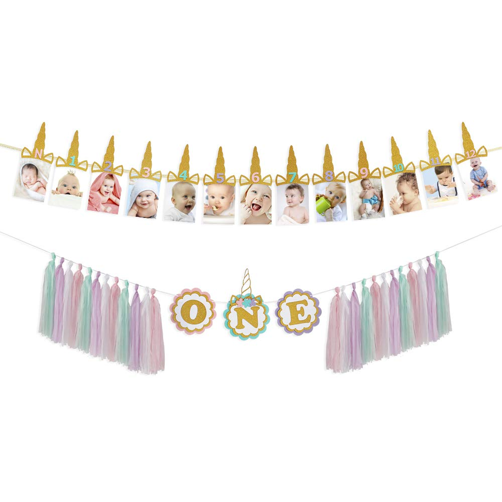Unicorn boy Girl First Happy Birthday Bunting Banner 1st Birthday Monthly Growth Record Photography Tessal Garland High Chair Decorations Set Great for one Year Baby Shower Party Celebration