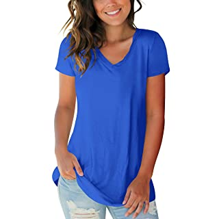 SAMPEEL Womens Casual Shirts Plus Size Short Sleeve V Neck Tops Workout Blouses Blue XXL