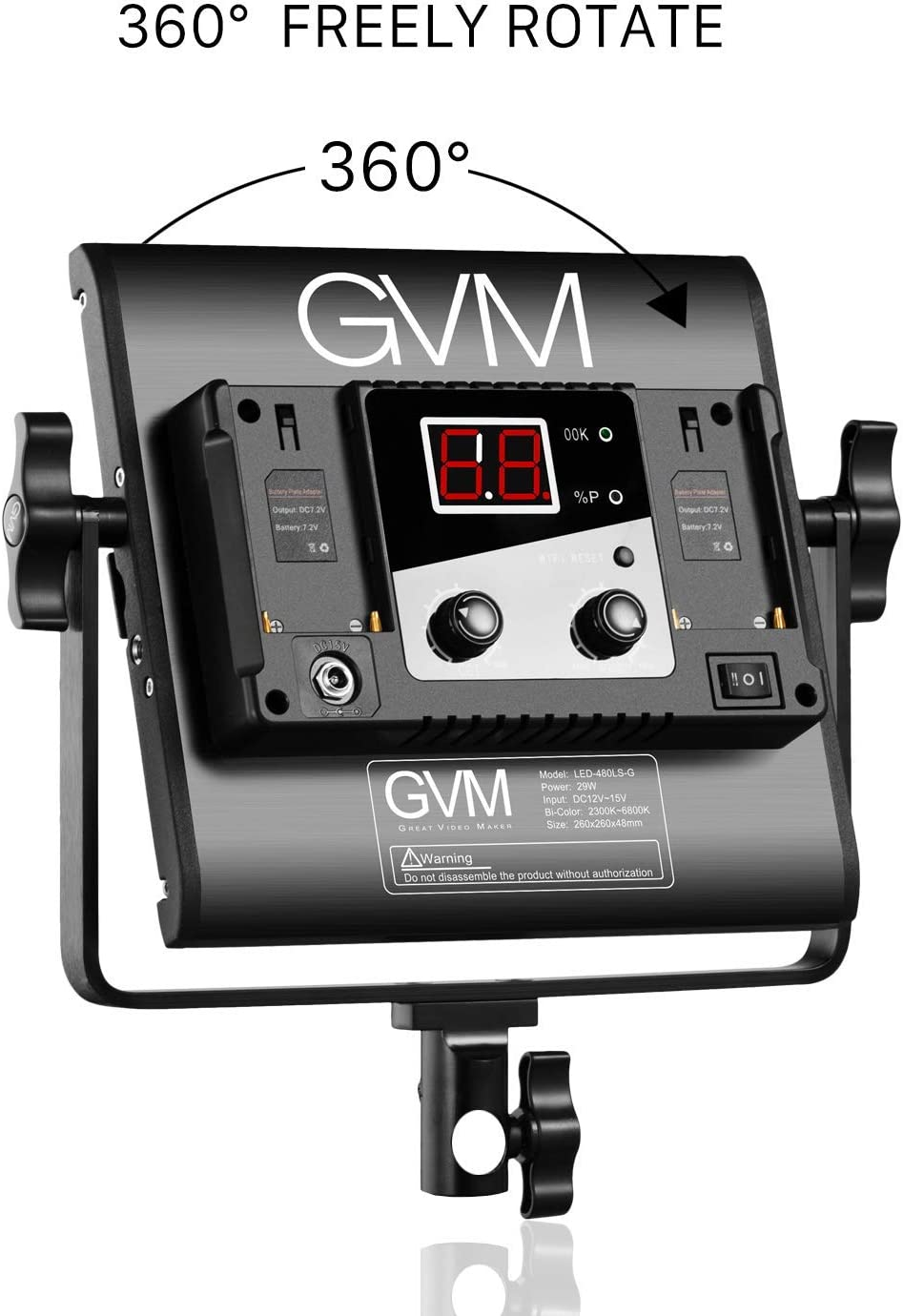 CR GVM 560 Lot de 3 lampes LED /à intensit/é variable Bicolore /Éclairage de photographie avec application Syst/ème de contr/ôle intelligent pour Studio YouTube Interview Outdoor Kit d/éclairage vid/éo 2300K-6800K