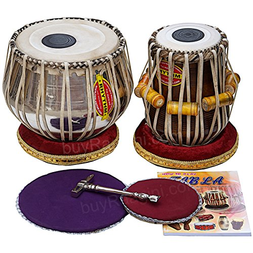 Mukta Das Tabla Set, Concert Quality, 3.5 Kilograms Chromed Copper Bayan, Sheesham Dayan with Padded Bag, Book, Hammer, Cushions, Cover, Kolkata Tabla Drums (PDI-AEB) by Mukta Das