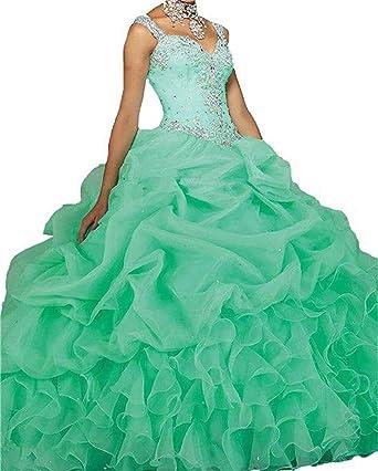 a8b8fe63e92 20KyleBird Cape Sleeves Beaded Organza Quinceanera Dresses Aqua Blue Ball  Gowns Sweetheart Ruffles Prom Party Sweet