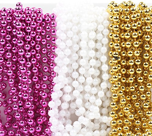 Andaz Press Mardi Gras Plastic Bead Necklaces Trio for Girl Baby Shower Party Favors and Table Centerpiece Decorations, Pink, Pearl White and Gold 36-Pack
