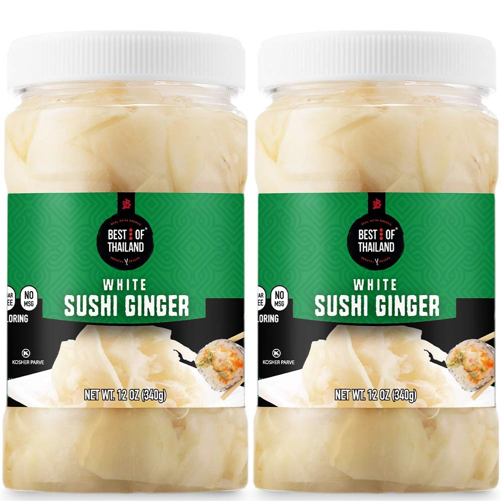 Amazon Com Best Of Thailand Japanese White Pickled Sushi Ginger Fresh Sliced Young Gari Ginger In All Natural No Coloring Sweet Pickle Brine Fat Free Sugar Free No Msg Certified