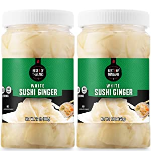 Best of Thailand Japanese White Pickled Sushi Ginger   Fresh Sliced Young Gari Ginger in All Natural, No Coloring Sweet Pickle Brine   Fat Free, Sugar Free, No MSG, Certified Kosher   2 Jars of 12oz