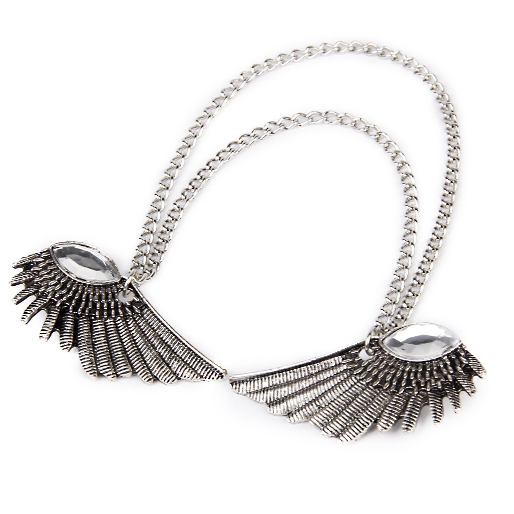 Angel Wings Dangle Chain Collar Tip Shirt Stud Brooch with Rhinestones Silver by Generic (Image #6)