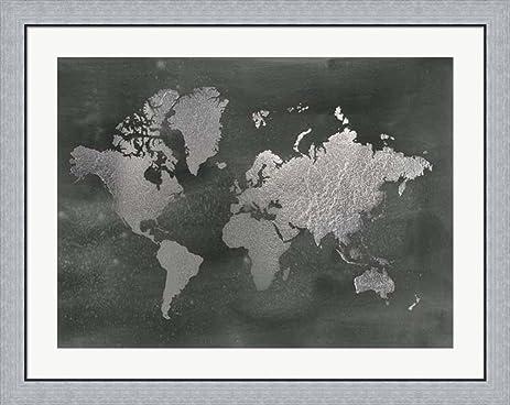 Silver foil world map on black metallic foil by jennifer goldberger framed art print wall