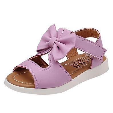 b686b611d1525 Bonjouree Sandales Fille Ete Chaussures Souples en Cuir Artificiel Bowknot ( 22