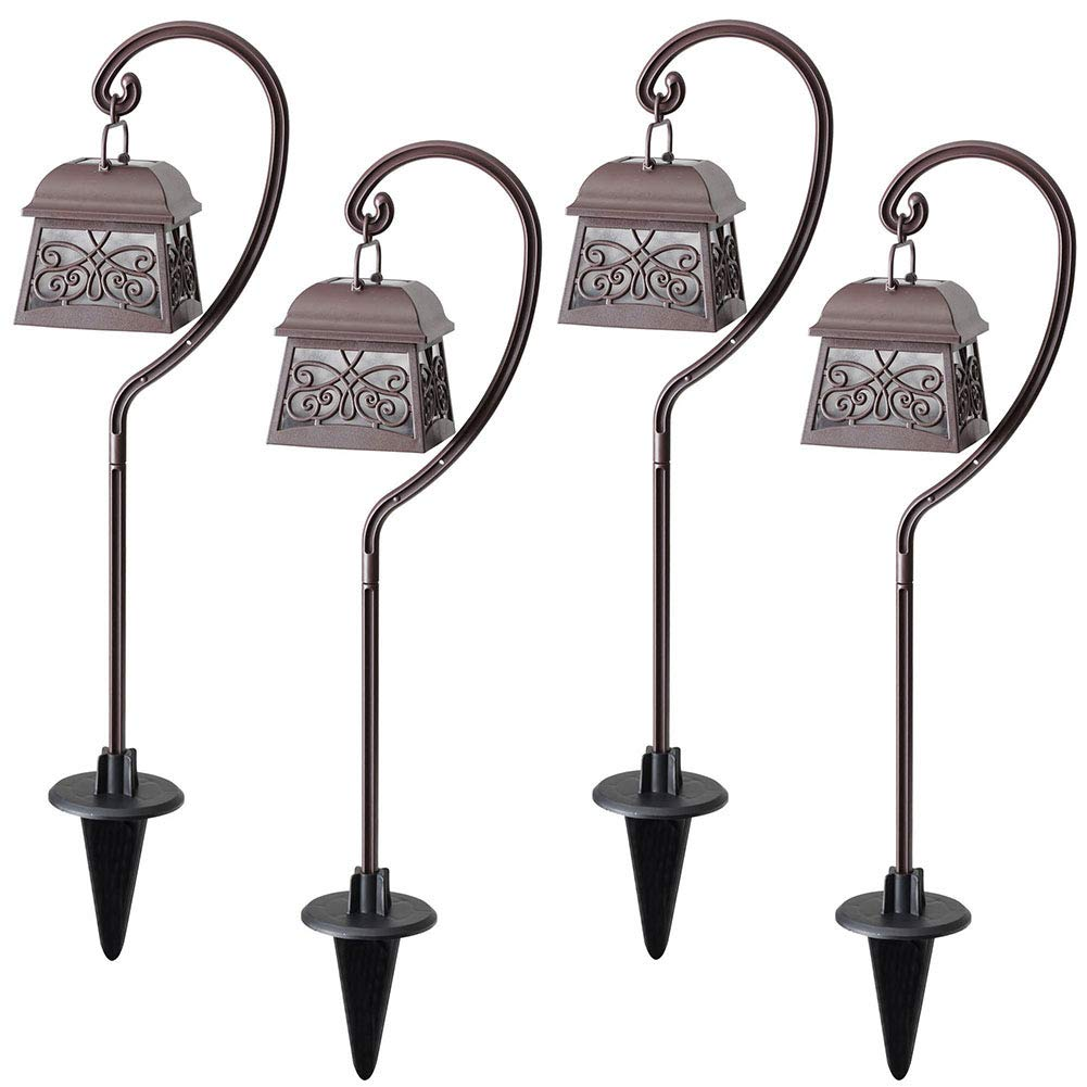 Maggift 22 Inch Hanging Solar Lights Multipurpose Shepherd Hook Lights with 4 Shepherd Hooks Outdoor Solar Coach Lights (4 Pack)