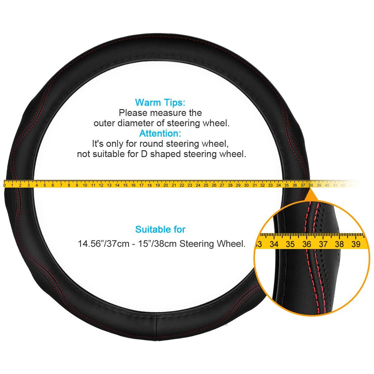 ELZO Genuina dellautomobile Volante in Pelle Copertura Universale Coprivolante da 15 Pollici 38CM Traspirante Antiscivolo Auto Wheel Manica Protector