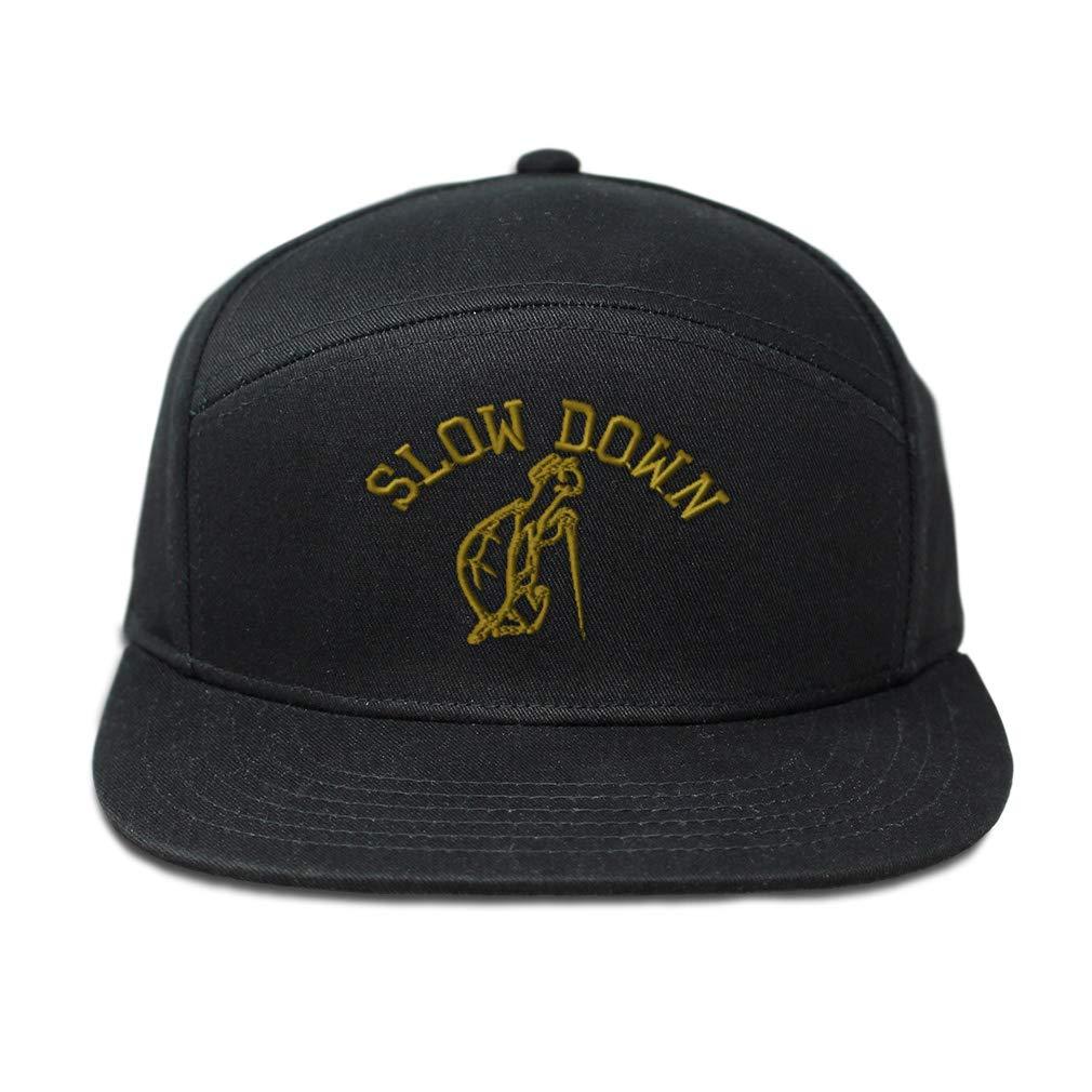 Snapback Hats for Men /& Women Slow Down Turtle Embroidery Cotton Snapback Black