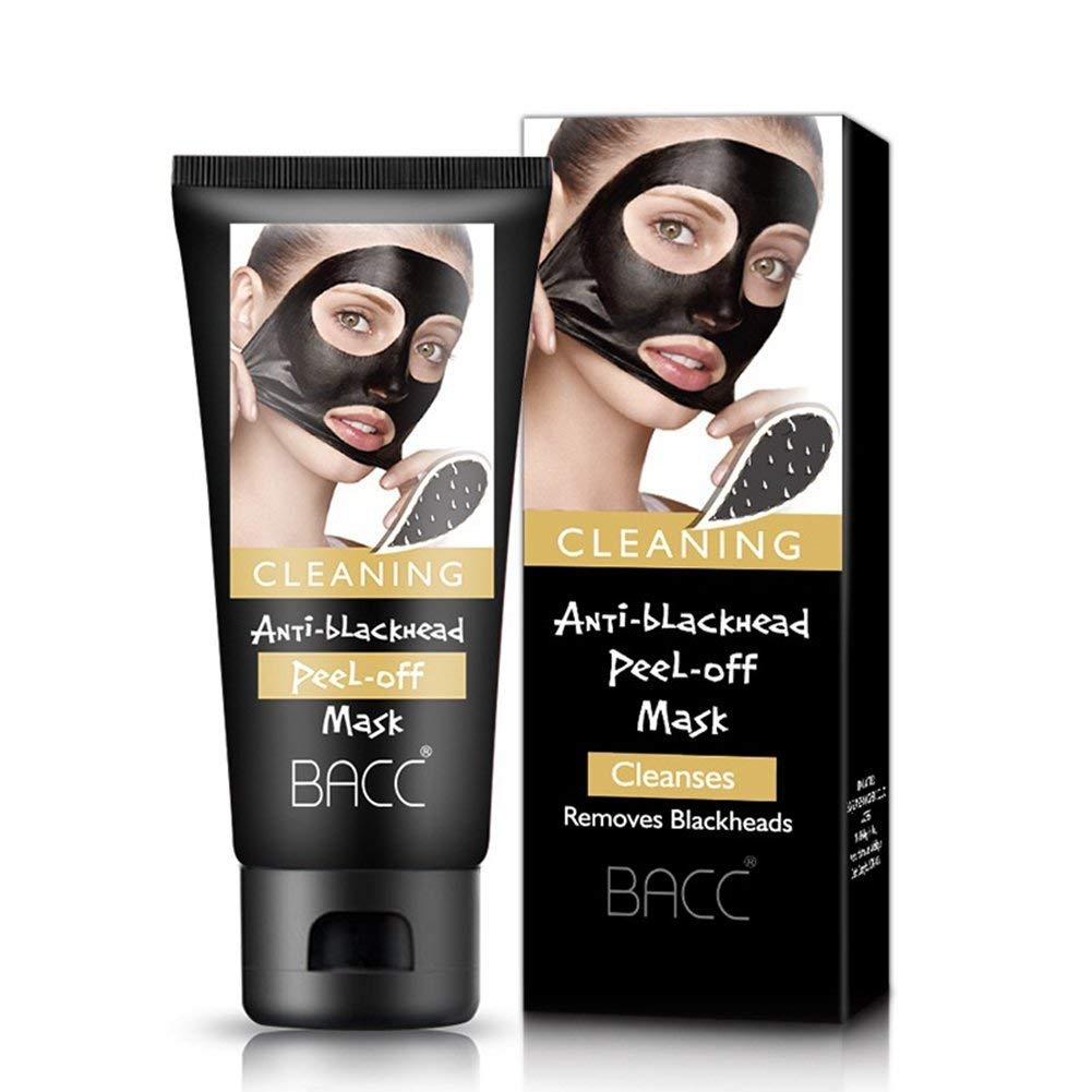 Blackhead Remover Mask, B.A.C.C Black Mask Bamboo Charcoal Mask, Deep Cleansing Peel Off Acne Remover Pore Purifying Blackhead Mask 60g FOXTSPORT