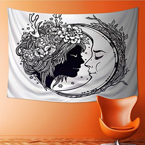 - SOCOMIMI Tapestry Mystic House Decor,dreamy elf fairy with a moon portrait of a beautiful girl Bedroom Living Room Dorm Wall Hanging Tapestry(90.5W x 59L INCH)