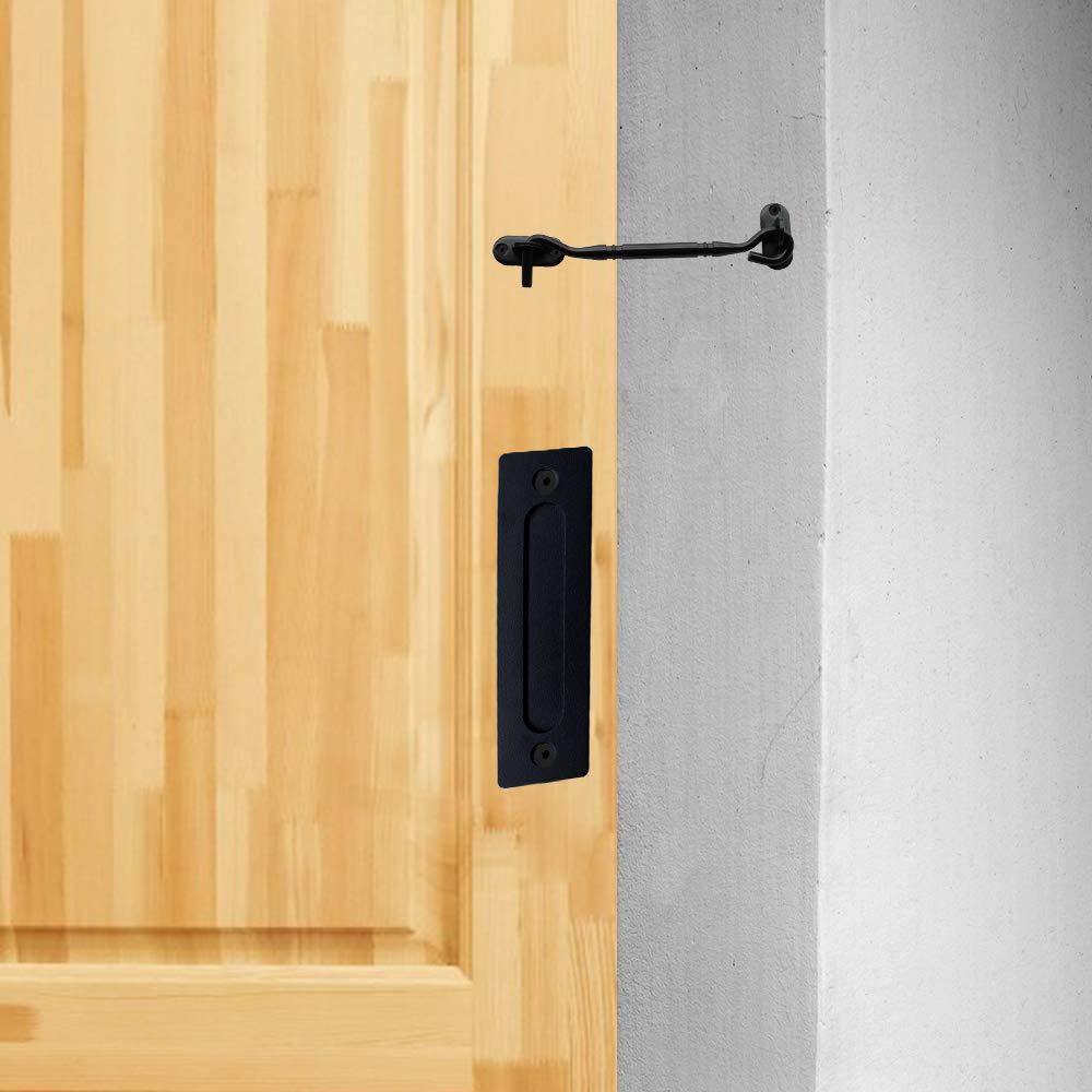 for Barn Door Gates Garages Sheds Black Barn Door Pull Handle Set Black 12 inch Round Heavy Duty Solid Steel Gate Handle