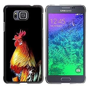FlareStar Colour Printing Cock Bird Chicken Golden Rooster Black cáscara Funda Case Caso de plástico para Samsung GALAXY ALPHA G850