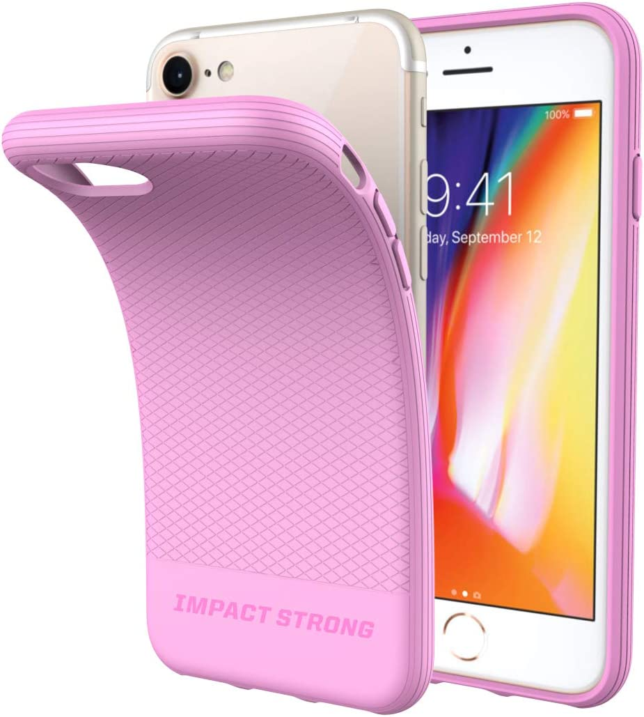 ImpactStrong iPhone SE 2020 Case, iPhone 7/8 Case, Liquid Shield Silicone Rubber Shock-Absorbing Scratch-Resistant Cover for iPhone 7/8 and iPhone SE (2nd Generation) - Pink