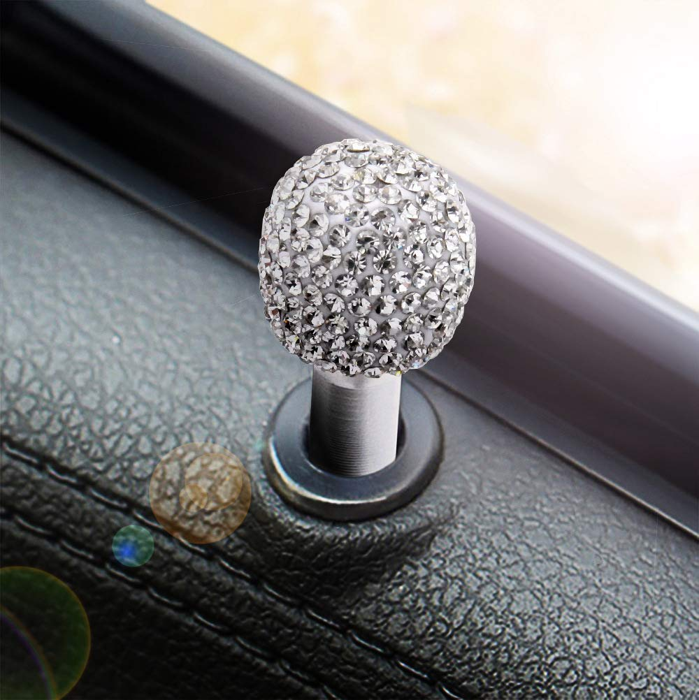 White 4pcs//Pack Bling Bling Car Door Bolt Lock Pin Knob Button Trim Cover Decoration Car Interior Window Decorative Crystal Universal Fit