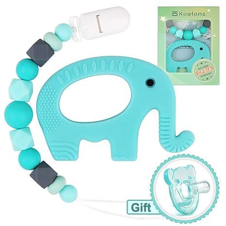 Chupete Clips Elefante Mordedor Dentición Maniquí Chupete Cadena Porta juguetes sensoriales Chew Binky Holder Set para recién nacidos Niño Dentición ...