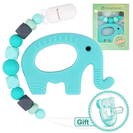 Pacifier Clips Elephant Teether Binky Holder Sensory Chew Toys Teething Pain Relief Soft Food Grade...