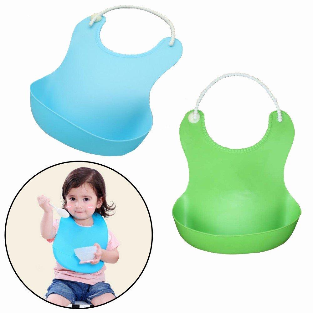 Blau Kleckerfrei Essen Wasserdicht einfache Reinigung bestbeans Baby L/ätzchen weiches Silikon Auffangschale