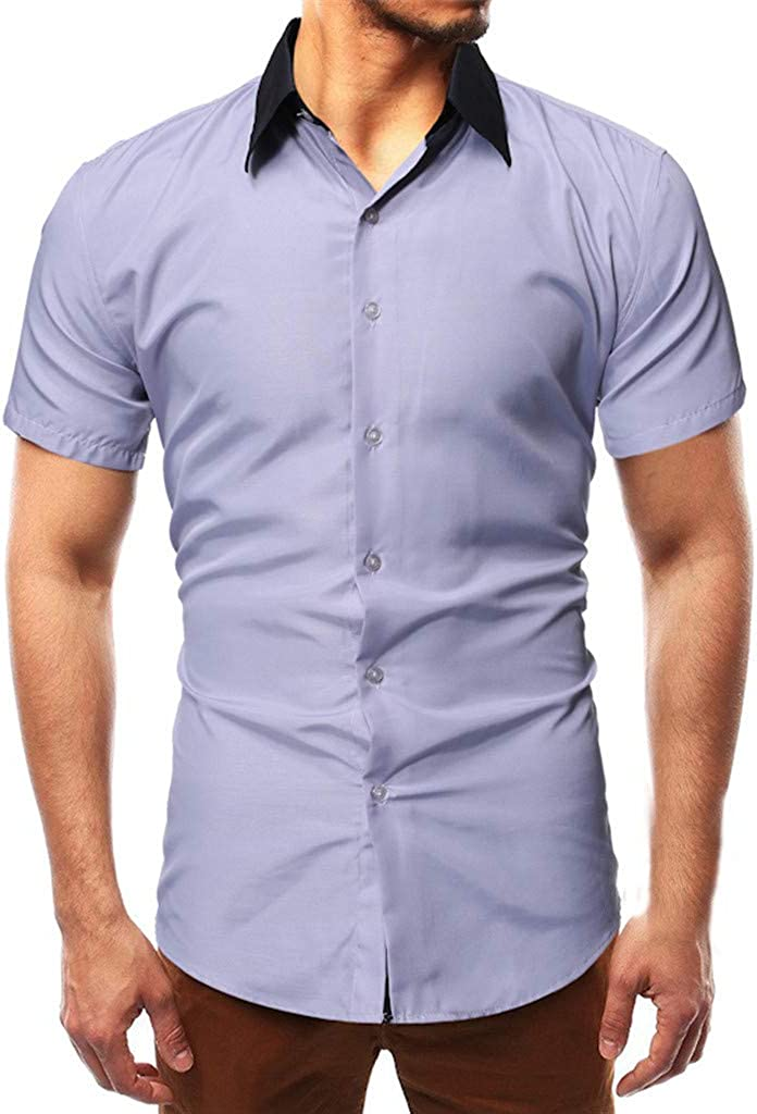 Polo Shirt for Men F/_Gotal Mens T-Shirts Fashion Summer Short Sleeve Solid Color Button Casual Tee Shirts Blouse Tops