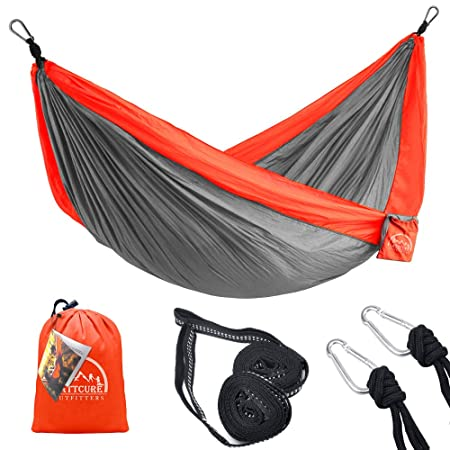LATTCURE Camping Hammock Lightweight Nylon Portable Hammocks, Outdoor Sleeping Bag Envelope Sleep Bags Best Parachute Single Double Camping Hammock for Travel, Beach, 107 L x 56 W 450lbs Support