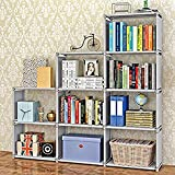 Tomasar 4 Tier Bookshelf 8/9 Cubes Home Furniture Organizer Storage Cabinet Closet Office Bookcase (9 Cubes-Grey) For Sale