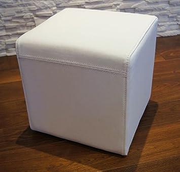 Weiß Echtleder Hocker 40x40x40cm Sitzhocker Rindsleder Sitzwürfel