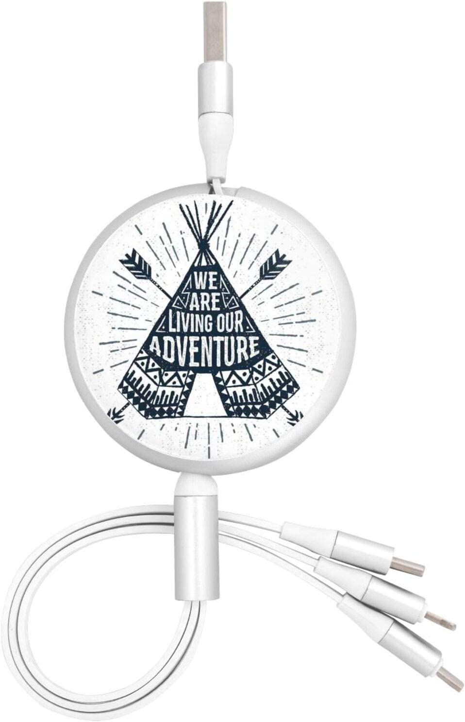 Multi Charging Cable Portable 3 in 1 Teepee Crossed Arrows We are Living Our Adventure Inspirational USB Cable USB Power Cords for Cell Phone Tablets and More Devices Charging