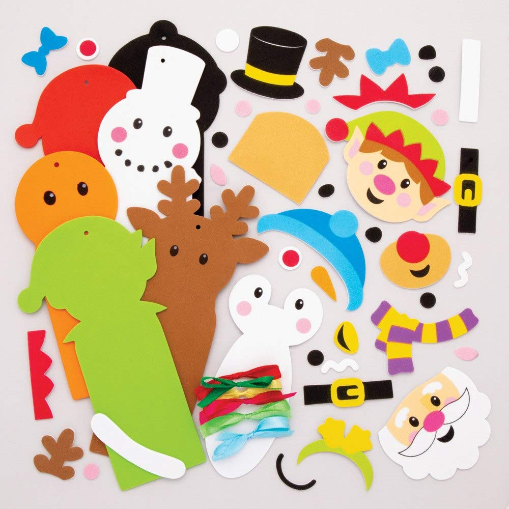 Assorted Festive Arts And Crafts Baker Ross AT191 Christmas Bookmark Kits Pack Of 6